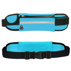 Cinturón Riñonera Deportivo con Bolsillos y Soporte para Botella color Azul