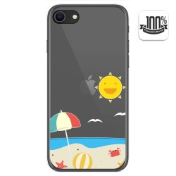 Funda Gel Transparente para Iphone SE 2020 diseño Playa Dibujos
