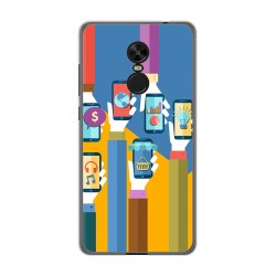Funda Gel Tpu para Xiaomi Redmi Note 4X / Note 4 Version Global Diseño Apps Dibujos