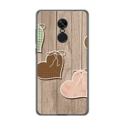 Funda Gel Tpu para Xiaomi Redmi Note 4X / Note 4 Version Global Diseño Corazones Madera Dibujos