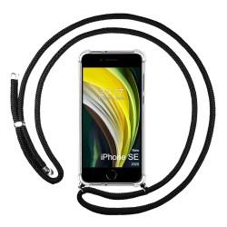 Funda Colgante Transparente para Iphone SE 2020 con Cordon Negro