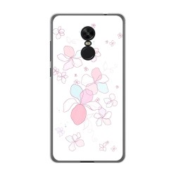 Funda Gel Tpu para Xiaomi Redmi Note 4X / Note 4 Version Global Diseño Flores Minimal Dibujos