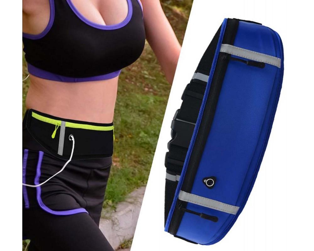 Cinturon Riñonera Reflectante para Correr Color Azul