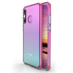 Funda Silicona Gel Tpu transparente con Marco Rosa para Huawei P30 Lite