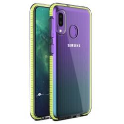 Funda Silicona Gel Tpu transparente con Marco Amarillo para Samsung Galaxy A20e