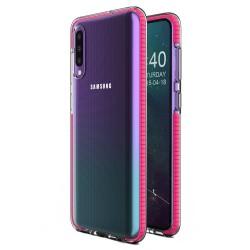 Funda Silicona Gel Tpu transparente con Marco Rosa para Samsung Galaxy A40