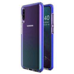 Funda Silicona Gel Tpu transparente con Marco Azul para Samsung Galaxy A50