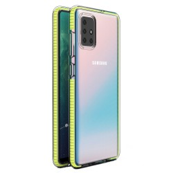 Funda Silicona Gel Tpu transparente con Marco Amarillo para Samsung Galaxy A71