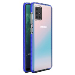 Funda Silicona Gel Tpu transparente con Marco Azul para Samsung Galaxy A71