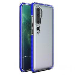 Funda Silicona Gel Tpu transparente con Marco Azul para Xiaomi Mi Note 10