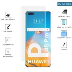 Protector Cristal Templado Completo Curvo UV Full Glue para Huawei P40 Pro