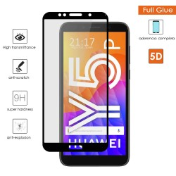 Protector Cristal Templado Completo 5D Full Glue Negro para Huawei Y5P Vidrio