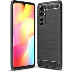 Funda Gel Tpu Tipo Carbon Negra para Xiaomi Mi Note 10 Lite