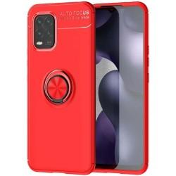 Funda Magnetica Soporte con Anillo Giratorio 360 para Xiaomi Mi 10 Lite Roja