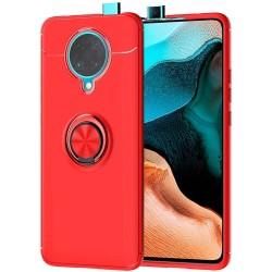Funda Magnetica Soporte con Anillo Giratorio 360 para Xiaomi POCO F2 Pro Roja