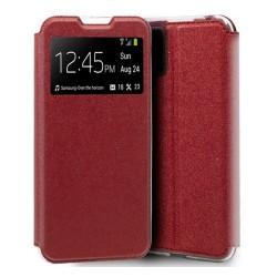 Funda Libro Soporte con Ventana para Xiaomi Mi 10 Lite color Roja