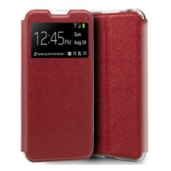 Funda Libro Soporte con Ventana para Xiaomi Mi Note 10 Lite color Roja