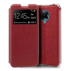 Funda Libro Soporte con Ventana para Xiaomi POCO F2 Pro color Roja