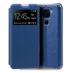 Funda Libro Soporte con Ventana para Xiaomi Redmi Note 9 color Azul
