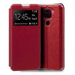 Funda Libro Soporte con Ventana para Xiaomi Redmi Note 9 color Roja