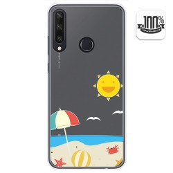 Funda Gel Transparente para Huawei Y6p diseño Playa Dibujos