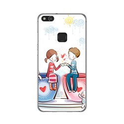 Funda Gel Tpu para Huawei P10 Lite Diseño Cafe Dibujos
