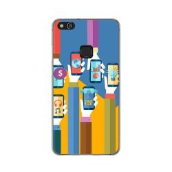 Funda Gel Tpu para Huawei P10 Lite Diseño Apps Dibujos