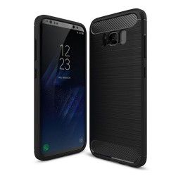 Funda Gel Tpu Tipo Carbon Negra para Samsung Galaxy S8