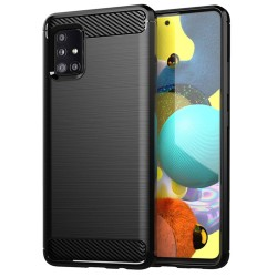 Funda Gel Tpu Tipo Carbon Negra para Samsung Galaxy A51 5G