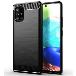 Funda Gel Tpu Tipo Carbon Negra para Samsung Galaxy A71 5G