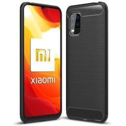 Funda Gel Tpu Tipo Carbon Negra para Xiaomi Mi 10 Lite