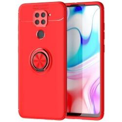 Funda Magnetica Soporte con Anillo Giratorio 360 para Xiaomi Redmi Note 9 Roja