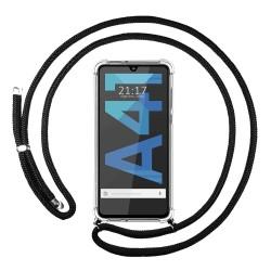 Funda Colgante Transparente para Samsung Galaxy A41 con Cordon Negro