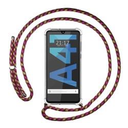 Funda Colgante Transparente para Samsung Galaxy A41 con Cordon Rosa / Dorado