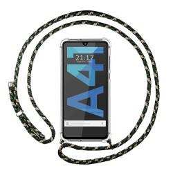 Funda Colgante Transparente para Samsung Galaxy A41 con Cordon Verde / Dorado