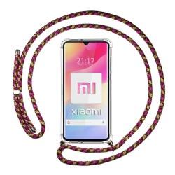 Funda Colgante Transparente para Xiaomi Mi 10 Lite con Cordon Rosa / Dorado