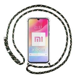 Funda Colgante Transparente para Xiaomi Mi 10 Lite con Cordon Verde / Dorado