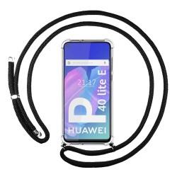 Funda Colgante Transparente para Huawei P40 Lite E con Cordon Negro