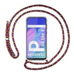 Funda Colgante Transparente para Huawei P40 Lite E con Cordon Rosa / Dorado