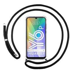 Funda Colgante Transparente para Huawei Y6p con Cordon Negro