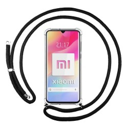 Funda Colgante Transparente para Xiaomi Mi Note 10 Lite con Cordon Negro