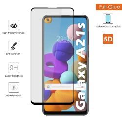Protector Cristal Templado Completo 5D Full Glue Negro para Samsung Galaxy A21s