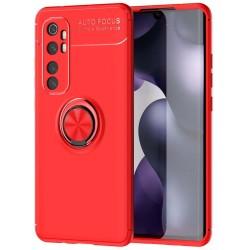 Funda Magnetica Soporte con Anillo Giratorio 360 para Xiaomi Mi Note 10 Lite Roja