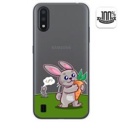 Funda Gel Transparente para Samsung Galaxy A01 diseño Conejo Dibujos