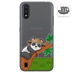 Funda Gel Transparente para Samsung Galaxy A01 diseño Panda Dibujos