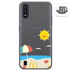 Funda Gel Transparente para Samsung Galaxy A01 diseño Playa Dibujos