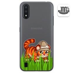 Funda Gel Transparente para Samsung Galaxy A01 diseño Tigre Dibujos