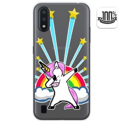 Funda Gel Transparente para Samsung Galaxy A01 diseño Unicornio Dibujos