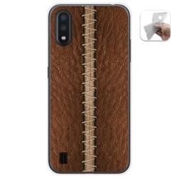 Funda Gel Tpu para Samsung Galaxy A01 diseño Cuero 01 Dibujos