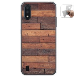 Funda Gel Tpu para Samsung Galaxy A01 diseño Madera 03 Dibujos